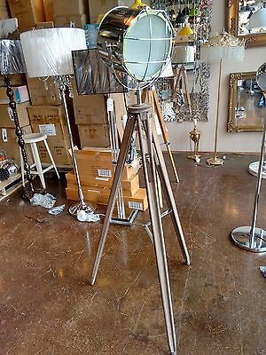 Adjustable Chrome Spotlight Wooden Tripod Floor Lamp Industrial