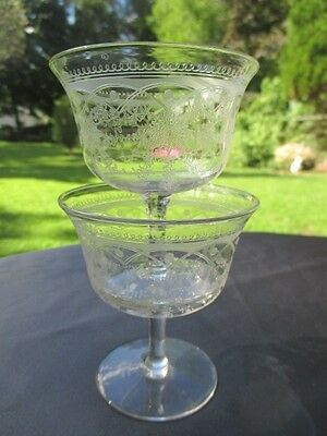 4 Strawberry Fruit Sherbet Low Champagne Glass Elegant Needle Etched Lacy Daisy