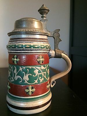 1/2L Enameled Beer Stein - Decorated By August Saeltzer ?