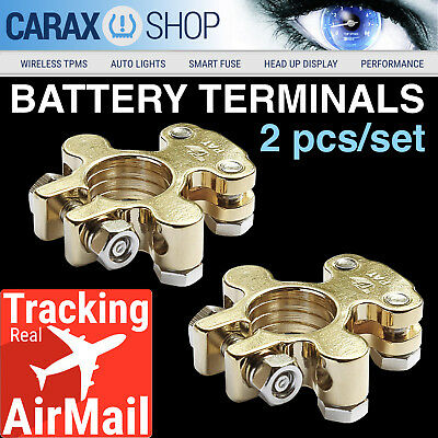 Battery Terminals 4 8 GA Power Distribution Block Heavy-Duty Clamps Gold plated