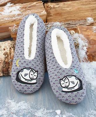The Lakeside Collection Cozy & Cute Sherpa Lined Cat Slippers -