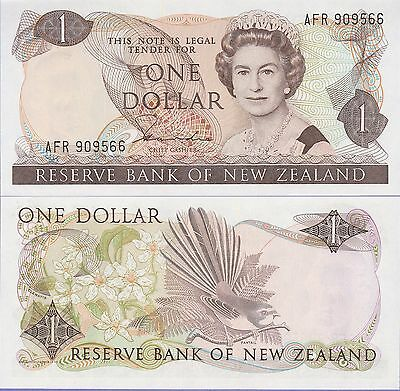 New Zealand 1 Dollar Banknote (1981-85) Choice About Uncirculated Cat#169-A-9566