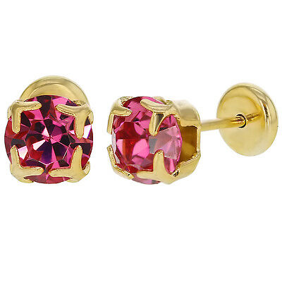 14k Gold Plated Square Pink Crystal Baby Girl Toddler Safety Stud Earrings