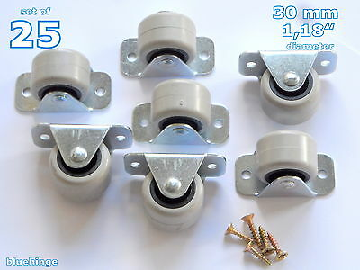 25 Rubber Rigid Fixed Castors Wheels Casrers 30 Mm Furniture Beds Drawers Boxes