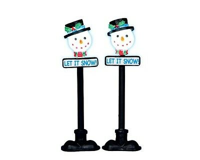 New Lemax Figurines 34640 Snowman Street Lamp Set Of 2 Battery-Operated 4.5