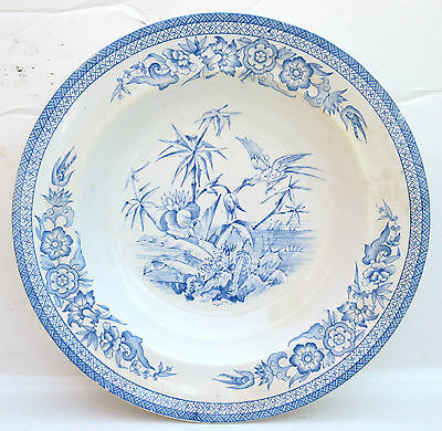 Rare 19th C. W.A. Adderley Bamboo Blue White Transfer Ware Soup Bowl c.1880s