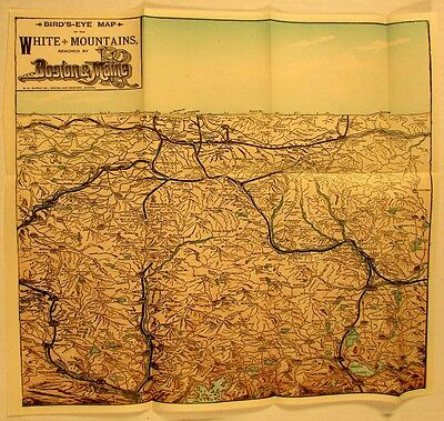 White Mountains New Hampshire c.1900 old lithographed map hotels railroads