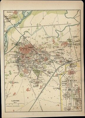 Lahore India 1920's litho small nice detailed color city plan map