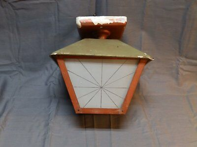 Vtg Mid Century Porch Ceiling Light Fixture Frosted Glass Star Panels 1592-16