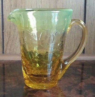 Vintage Yellow Amber Crackle Glass Miniature Pitcher Creamer Toothpick Holder