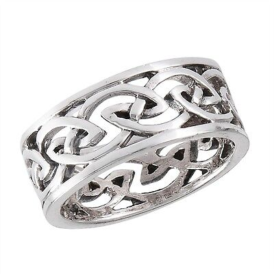 Cool Sterling Silver Ring Celtic Knot Motif Size 7-12