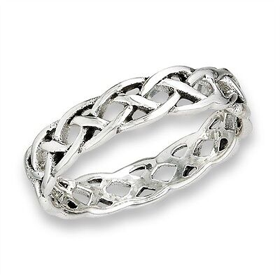 Unique Sterling Silver Celtic Open Weave Woven Band Ring Jewelry Size 6-9