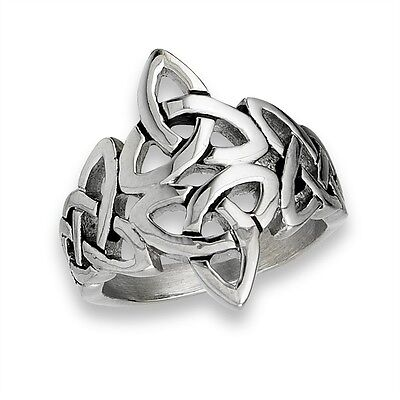 Stainless Steel Celtic Double Triquetra Trinity Celtic Knot Weave Ring Size 7-13
