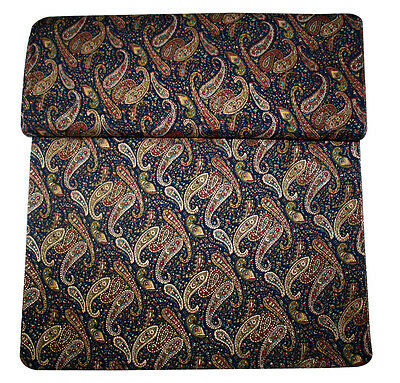 Indian Women Designer Art Gold Print Blue Color on Paisley Print Fabric Art IND