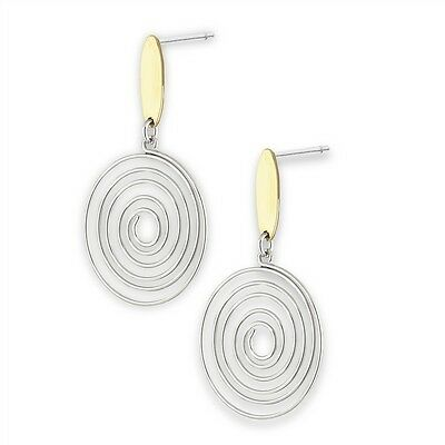 Stainless Steel Spiral Celtic Post Dangle Earrings w Gold Tone Plating