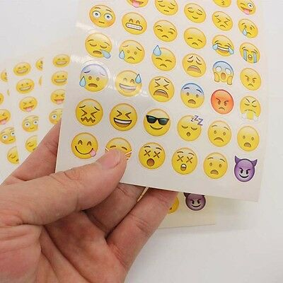 4 Sheets EMOJI SMILE VINYL STICKERS FOR LAPTOPS NOTEBOOK SCRAPBOOK DECAL New
