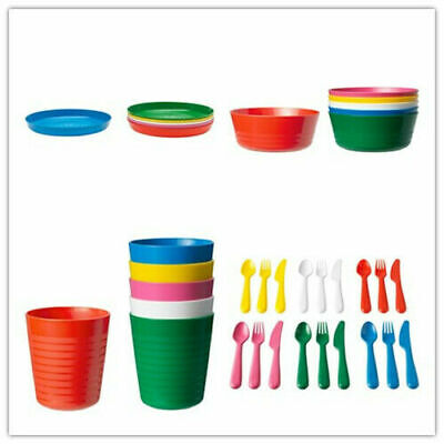 36-Piece IKEA KALAS Baby Kid Dinning Set Plastic Party Bowls Mugs Plates Cutlery