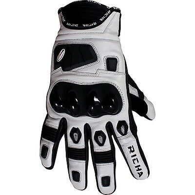 Richa Rock Short Leather Motorcycle Gloves - White