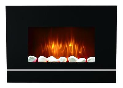 Wall Mounted Glass Electric Fireplace Fire Heater Remote Control Led Backlights