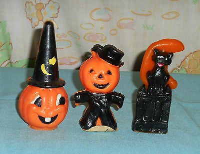 vintage Halloween GURLEY CANDLE LOT OF 3 cat/fence/moon jol in hat scarecrow