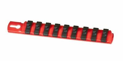 "Ernst 8410 8"" Long, 1/4"" Dr. Socket Rail Organizer   w/ 9 Twist Lock Clips - Red"