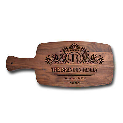 Personalized Handle Cheese Board Walnut Wood Cutting Board Custom Laser Engraved