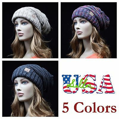 Men Women Knit Beanie Slouchy Baggy Knit Ski Hats Casual CC Hat Oversized Unisex