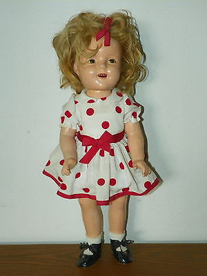 """Vintage SHIRLEY TEMPLE 20"""" Composition IDEAL DOLL COIN DOT Dress #20 Arms     I3"""