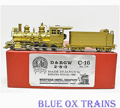 Westside Model Co HOn3 2-8-0 C-16 D&RGW #278 Steam Locomotive Unpainted Brass