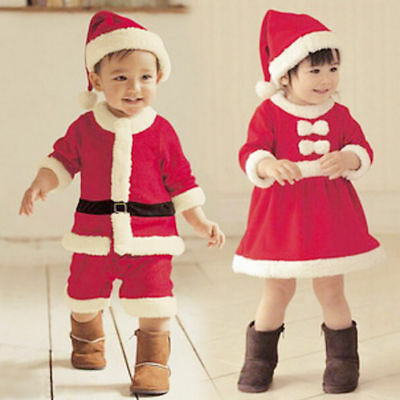Hot Kids Boy Girls Christmas Santa Claus Suits Romper Clothes Hats Costumes Sets