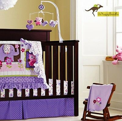 New Baby Girls 7 Pieces Cotton Nursery Bedding Crib Cot Sets-- Purple Owl Bird