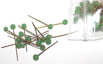 """Matte Green Glass Beaded 1"""" Head Pins New- Old- Stock 12ea   B93"""