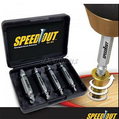 4PCS /Set Speed Out Screw Extractor Drill Bits Tool Broken Damaged Bolt Remover