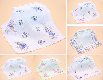 Lot 10Pcs Ladies 100% Cotton Flower Vintage Handkerchiefs Quadrate Hankies