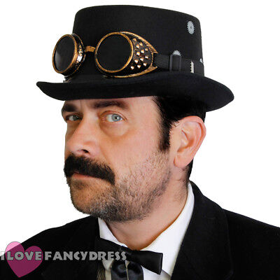 NEW STEAMPUNK TOP HAT AND GOGGLES GOTHIC SCIFI VICTORIAN FANCY DRESS COSTUME SET