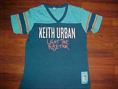 Keith Urban Light The Fuse Tour Concert 2013 Blue Orange Women Jersey Shirt L
