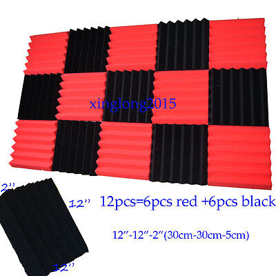 2x12x12 (12 Pk) RED/CHARCOAL Soundproofing Acoustic Wedge Foam Tiles Wall Panel