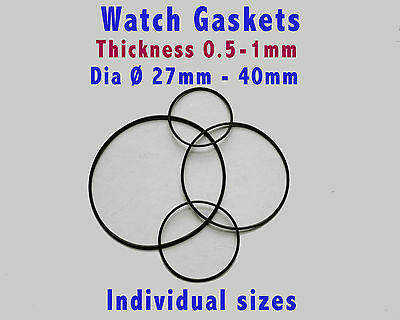 Watch rubber gaskets O rings, watch back seals, pack of 3, sizes  Ø25 - 40mm
