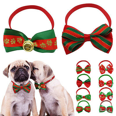 10/60/100pcs Christmas Dog Bow Tie Collar Cat Necktie Grooming Xmas Bowtie