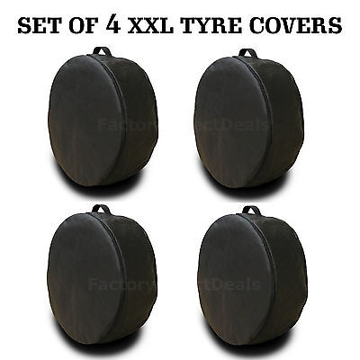 New Black Set Of 4 Xxl Spare Tyre Covers Wheel Cover Tyre Bag For Any Car Van