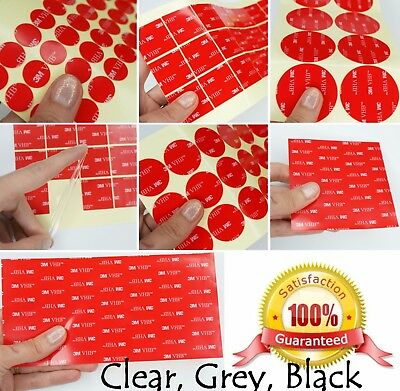 3M VHB™ DOUBLE SIDED Self Adhesive Sticky Pads ~ CLEAR, BLACK, GREY ~ 1mm thick