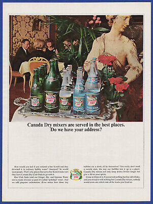 Vintage 1964 CANADA DRY Ginger Ale Club Soda Quinine Water Mixer Print Ad 1960's