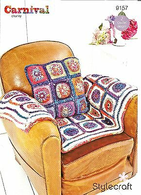 Stylecraft Carnival Chunky Knitting,easy Squares,cushion Blanket Crochet Pattern