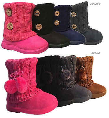 Infant Toddler Girls Winter Casual Button Faux Fur Suede Boots Shoes USA SELLER