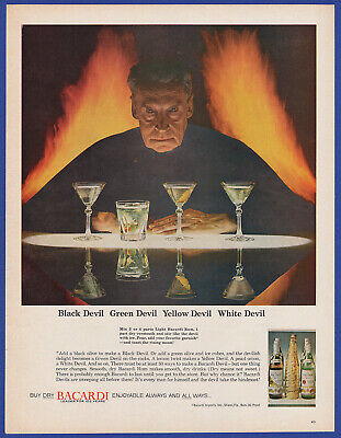 Vintage 1964 BACARDI Rum Alcohol Black Devil Restaurant Bar Decor Print Ad 60's