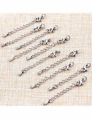 Necklace Extender Chains, Set of 10, Sterling silver, 12mm lobster clasp, New