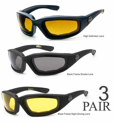 3 PAIRS Combo Choppers Padded Foam Wind Resistant Motorcycle Riding Sunglasses