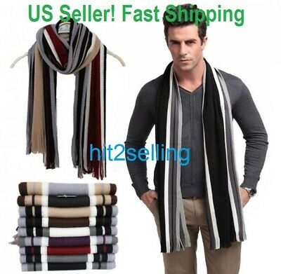 Men Classic Scarf Shawl Winter Warm Long Fringe Striped Tassel Wrap USA Seller!