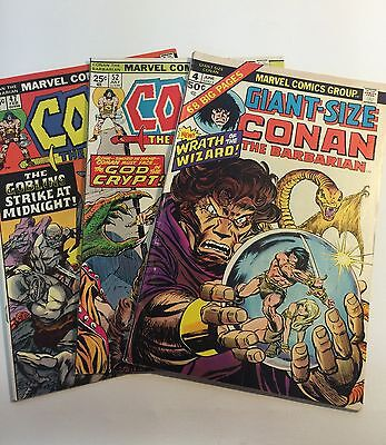 Conan Barbarian Marvel Vtg 1970s Lot of 3 Includes Giant #4 Issue #47 and #52