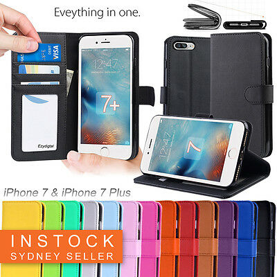 Premium Leather Wallet TPU JELLY Case Cover for Apple iPhone 7 & 7 Plus